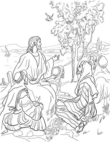 Parable of Mustard Seed coloring page from Jesus' parables