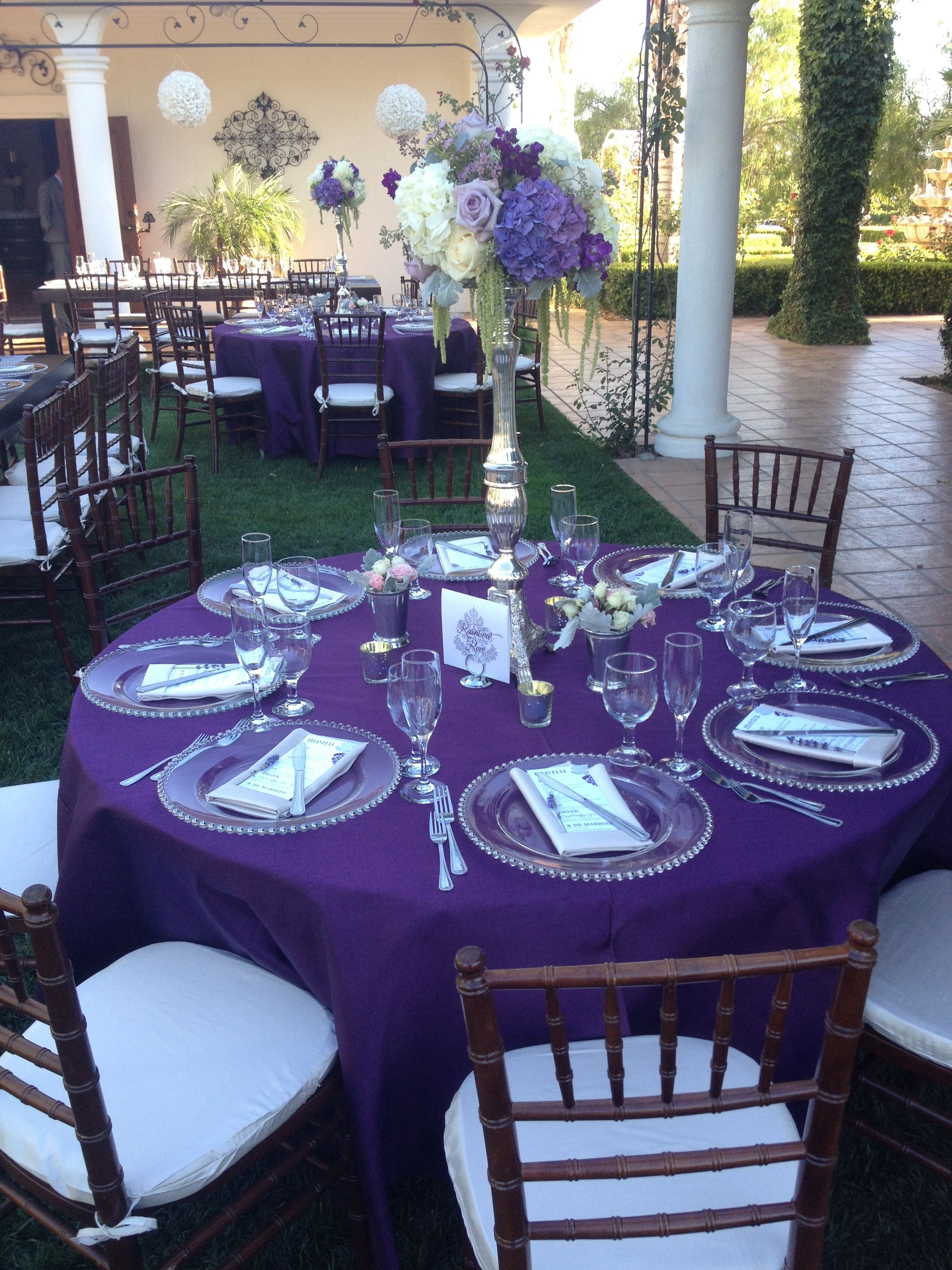 Table Setting Purple Linens Wedding Settings Glass Chargers