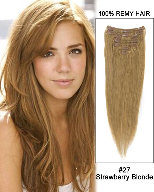 16 Inch 10pcs Straight Brazilian Clip In Remy Hair Extensions 27