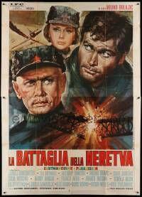 8j021 BATTLE OF NERETVA Italian 2p '69 different Gasparri WWII art of Brynner, Nero & Koscina!