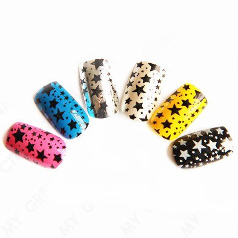 A Set of Stylish Star and Polka Dot Pattern Color Block Nail Art False Nails