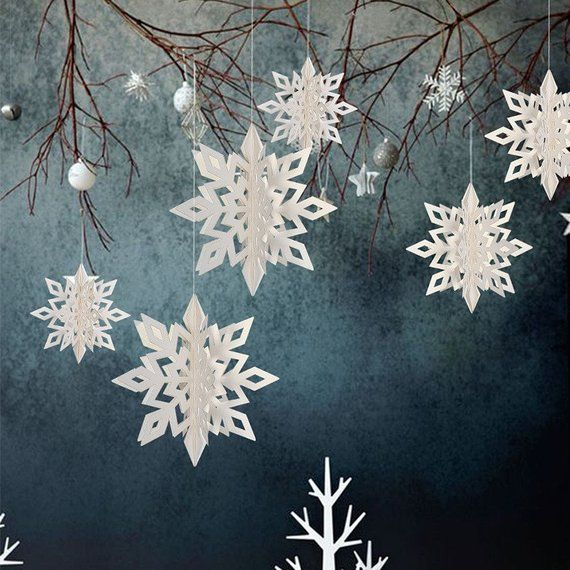 Set Of 6 Hanging 3d Snowflakes Snowflake Party Decoration Blue