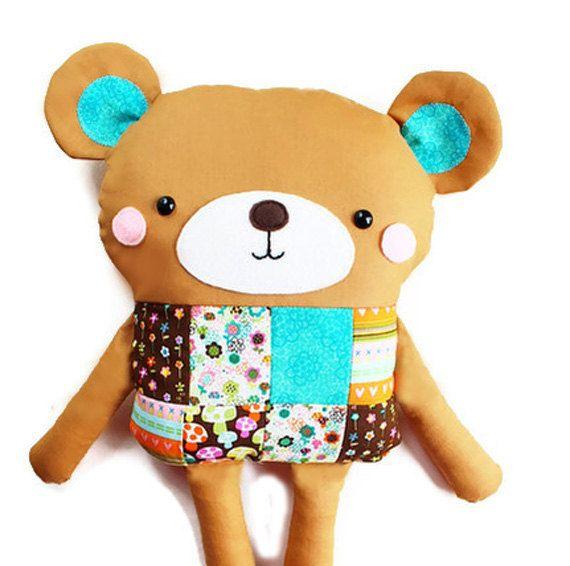 Bear Sewing Pattern Patchwork Softie - http://www.etsy.com/uk ...