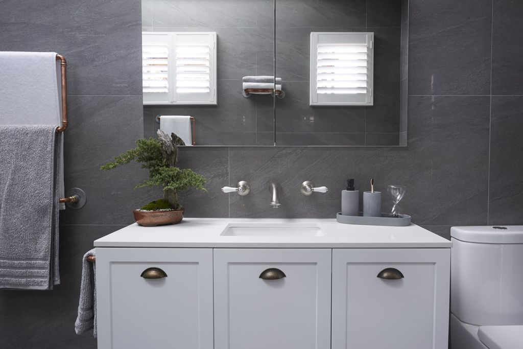 Sticks & Wombat Main Bathroom featuring Rifco Imperial vanity 1200w with Caesarstone top & Omega undercounter basin. Also featuring our Overlay mirror cabinet
