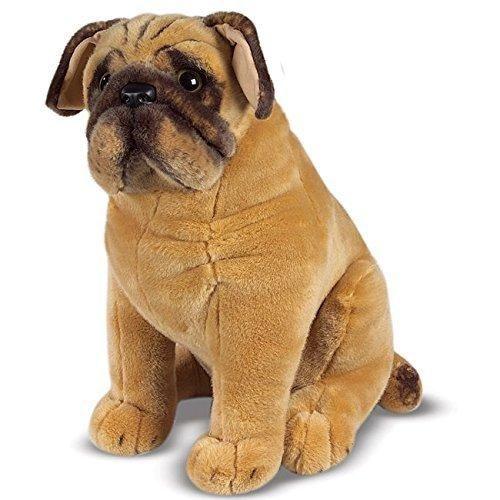 Brown Plush Stuffed Pug Dog Toy Cute Face Soft Fluffy Doggy Pet