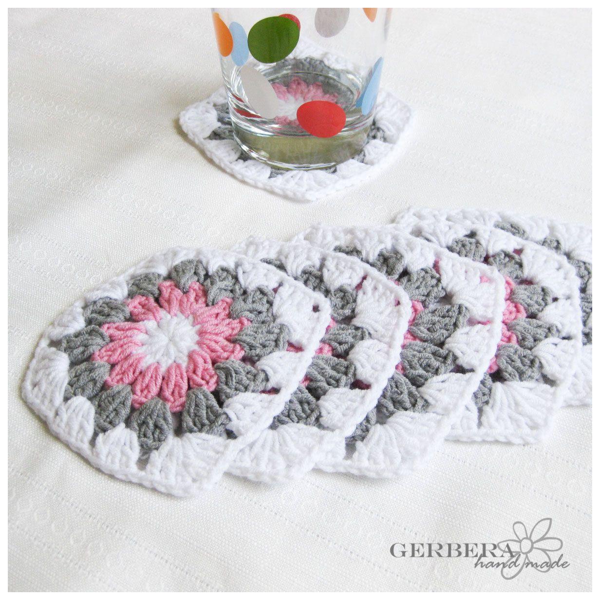 Granny Square Crochet Coasters   Cement   Pinterest   Patrones ...