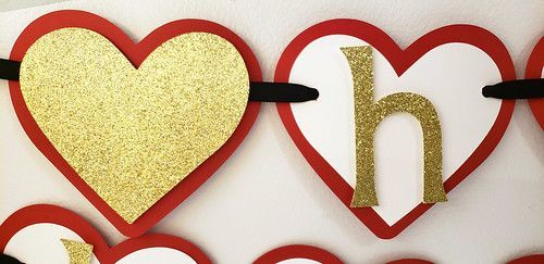 Red and Gold Heart Birthday Banner