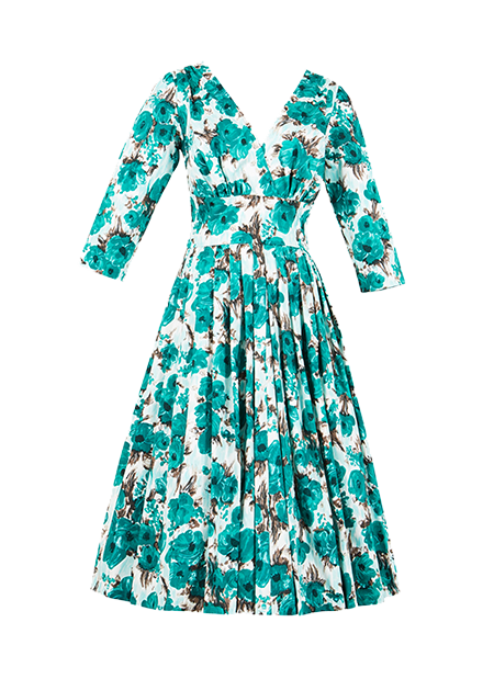 959c3c5044 Vivian Shamrock is a lovely black floral dress with sleeves. A beautiful  retro inspired dress designed by Retrospec d