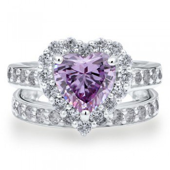 #Berricle                 #ring                     #Sterling #Silver #Heart #Lavender #Cubic #Zirconia #2pcs #Ring ##r608        Sterling Silver 925 Heart Lavender Cubic Zirconia CZ 2pcs Ring Set #r608                                http://www.seapai.com/product.aspx?PID=1263256