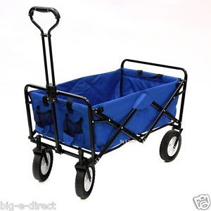 blue pull folding utility wagon cart for beach camping sport grocery garden gear
