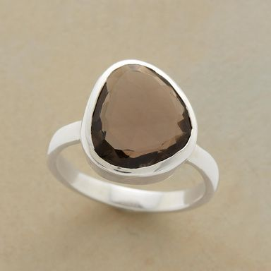 DIE! I love this.     TABLE ROCK QUARTZ RING--Table-top cut smoky quartz goes free-form in a sterling silver bezel on a sterling silver band. Exclusive. Whole sizes 5 to 10.