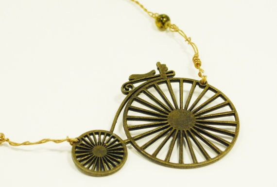 Steam punk necklace Bicycle wire work by CelestialCreations4u, $25.00