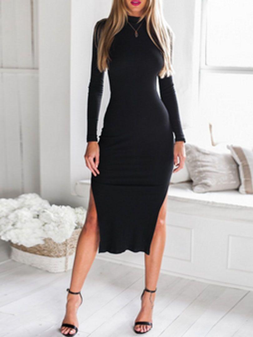 Vestido negro manga larga espalda descubierta