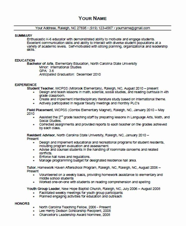 Free Sample Resume for Teachers Lovely Free Teaching ...