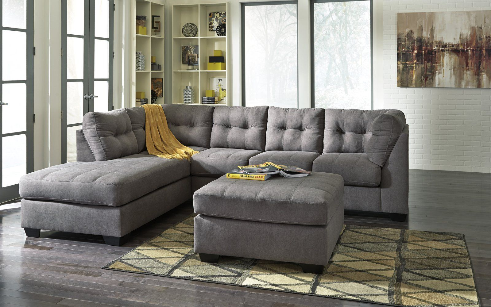 Maier Sectional Gray 452 Ash Ashley Furniture Sofas Living Room Furniture Home Furniture
