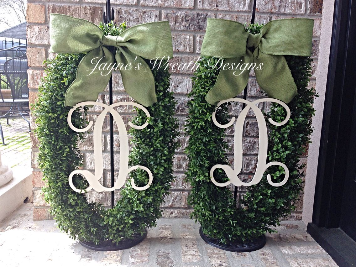 Large Oval Boxwood Wreaths For Double Doors, With Single Vine Letters And  Green Burlap Bows
