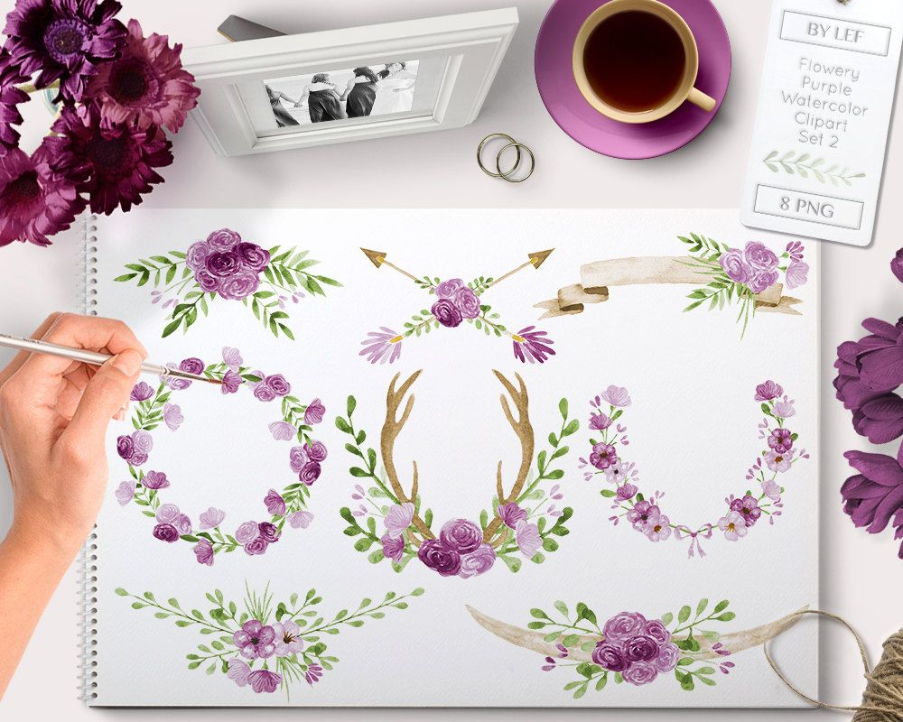 New to bylef on etsy flower clipart watercolor wreaths arrows and antlers rustic wedding clip art graphics instant download floral images