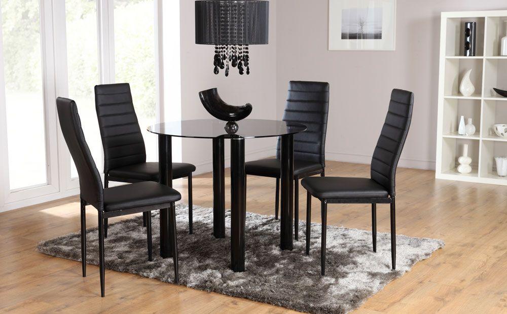 Solar  Lunar Glass Dining Set Black at Furniture Choice