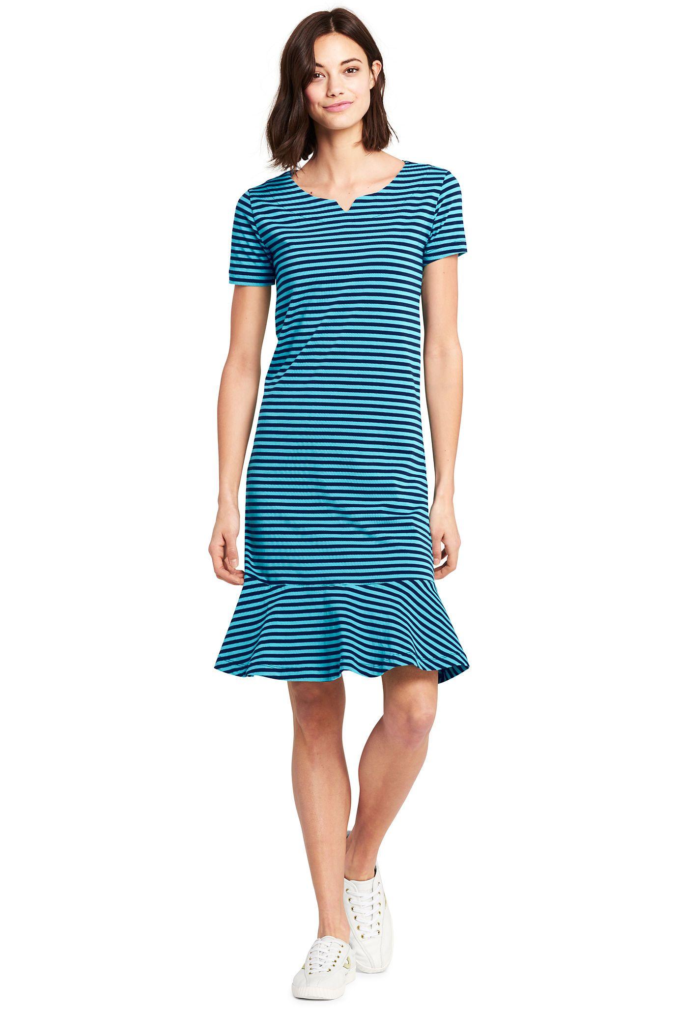 9e29a72114de Women's Short Sleeve Stripe Ruffle Hem Tee Shirt Dress | Wear ...