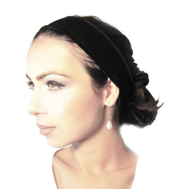 Non-Slip Headband Head Hair band Black Velvet: by ShariRoseShop