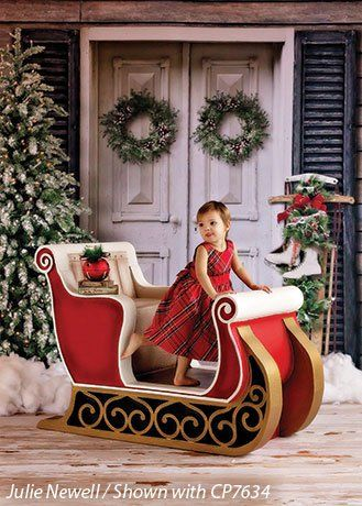 Sleigh Prop Large Photography Props Christmas Backdrops Christmas Sleigh Decorations Christmas Photo Props