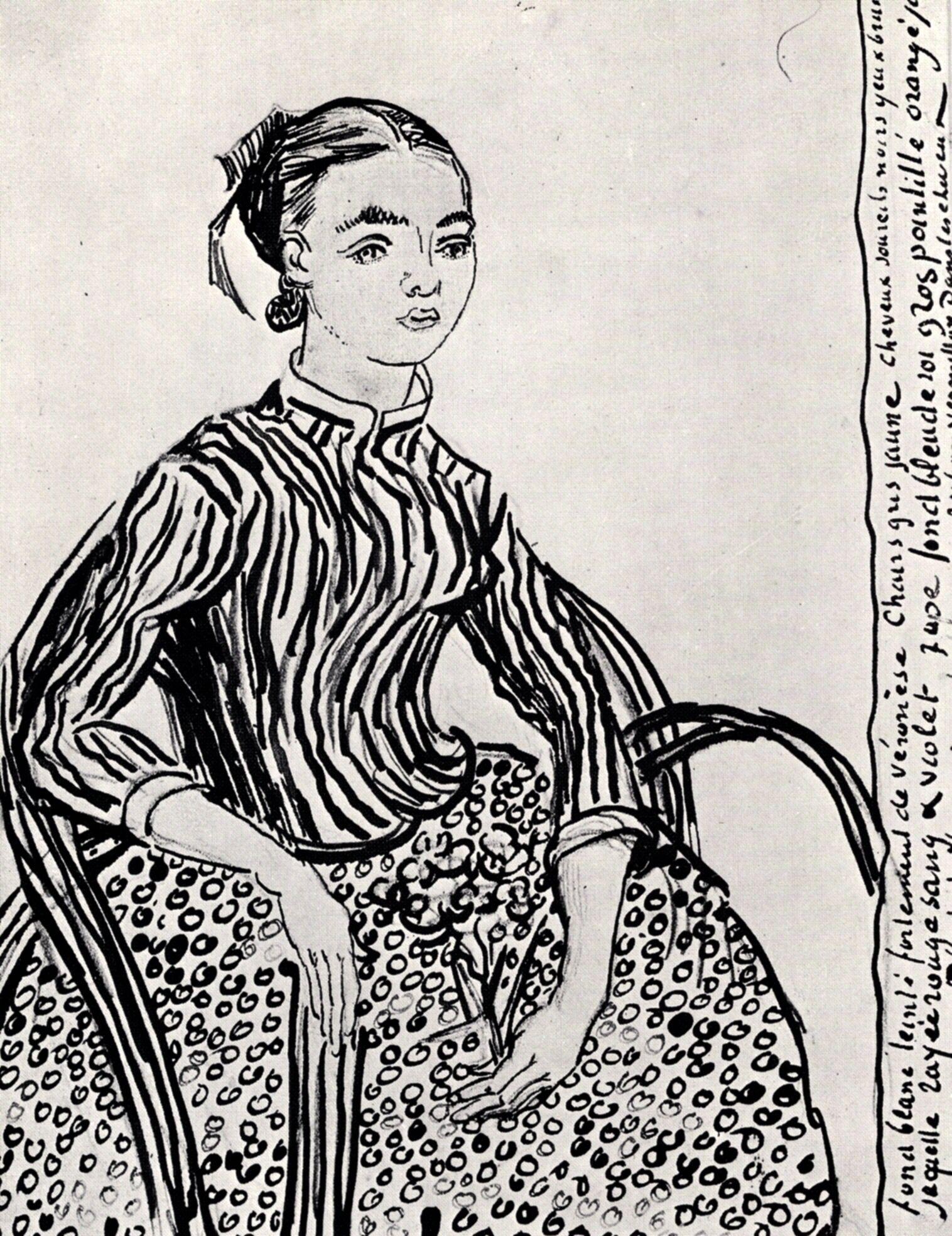 A mousmé, sitting - Vincent van Gogh. Completed by : 1888, Arles, Bouches-du-Rhone, France. Style : Japonism. Genre : Portrait. | via wikipaintings.org