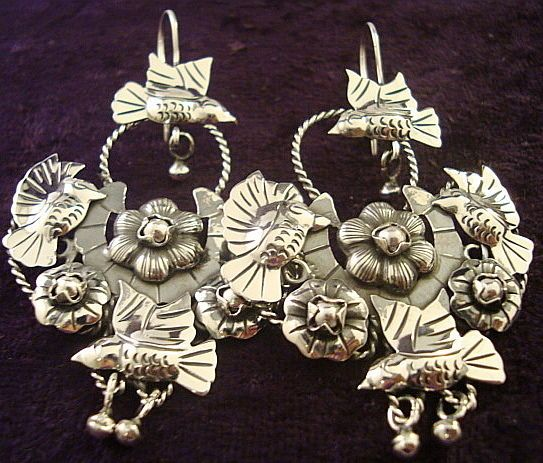 pyrite flowers silver Frida Kahlo Sacred Heart- mexican tribute amazing statement earrings birds handmade roses post earrings