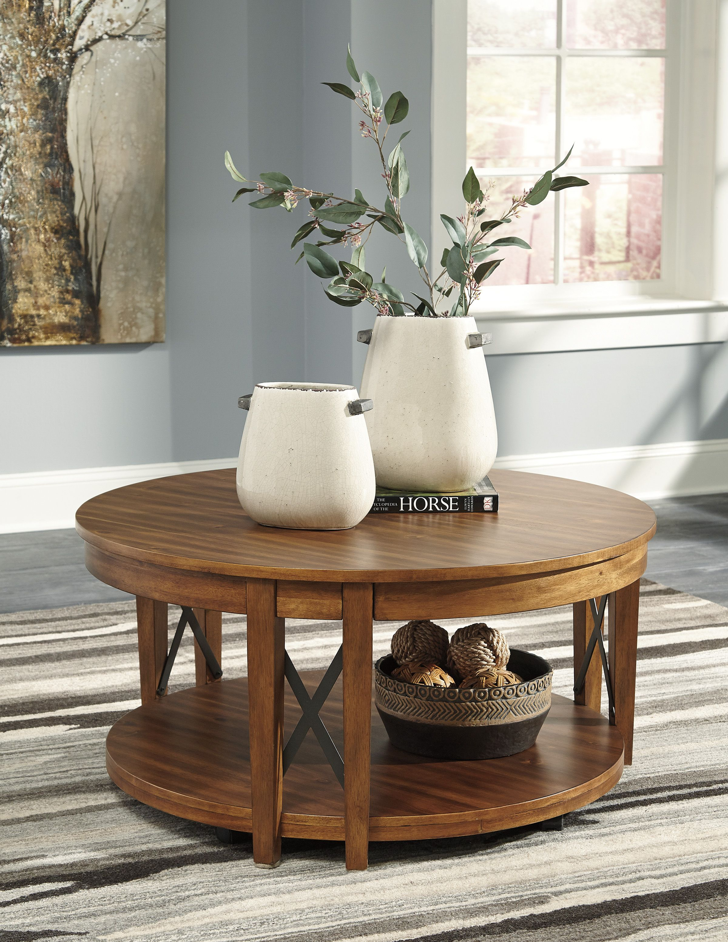 Emilander Round Cocktail Table Round Wood Coffee Table Coffee