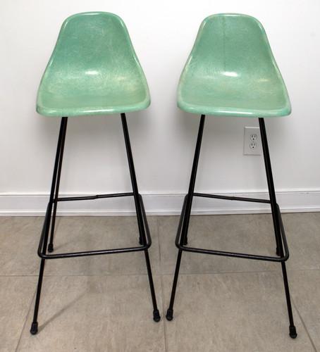 vintage eames era mid century molded fiberglass plastic bar stools