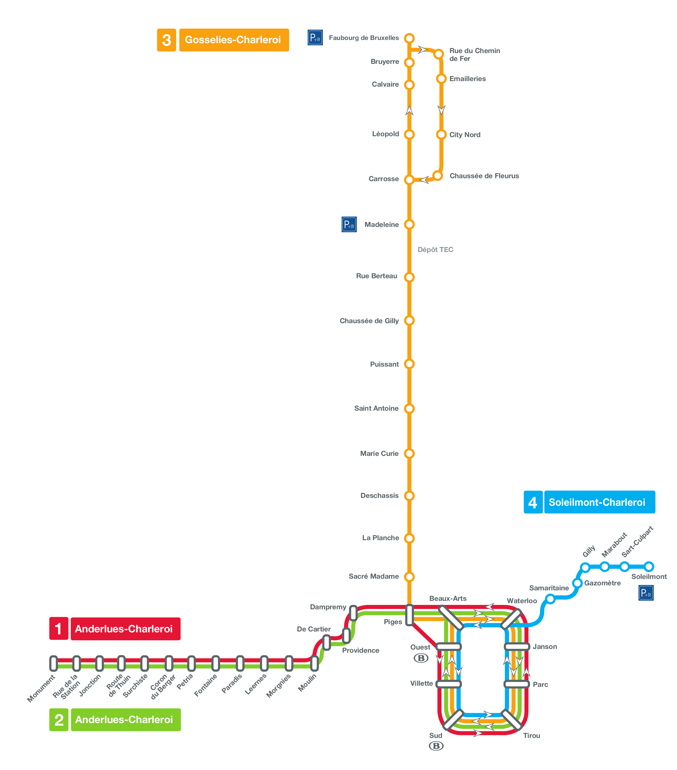 Metro of Charleroi Light rail Belgium and Subway map