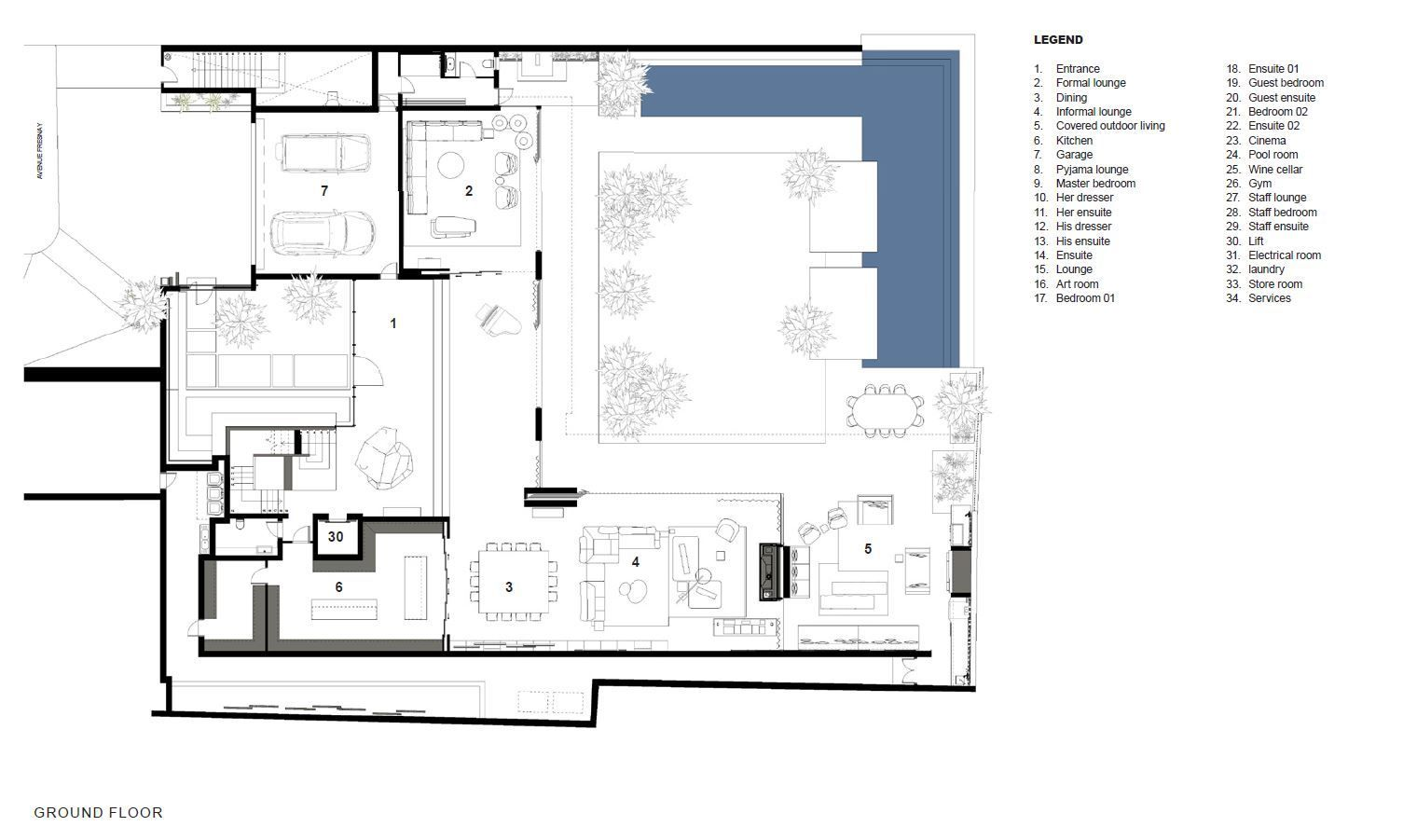 Gallery Of Hillside View Arrcc 18 Villa Plan Floor Plans Master Bedroom Plans