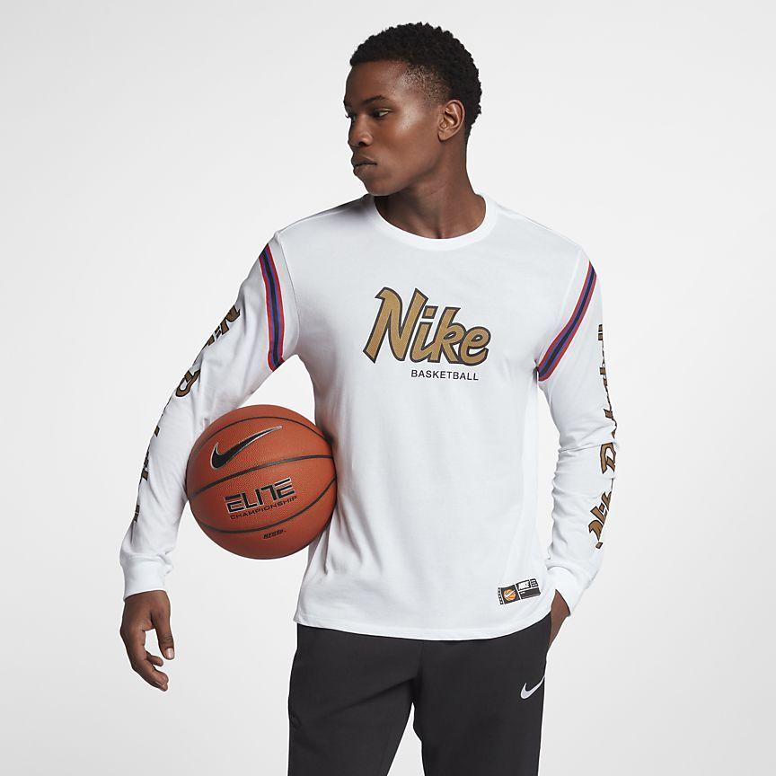Nike drifit mens long sleeve basketball tshirt