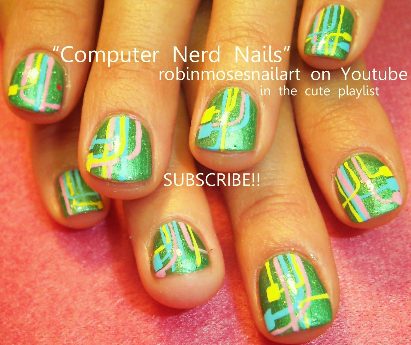Nail Art By Robin Moses Nerd Nails Httpyoutubewatchv