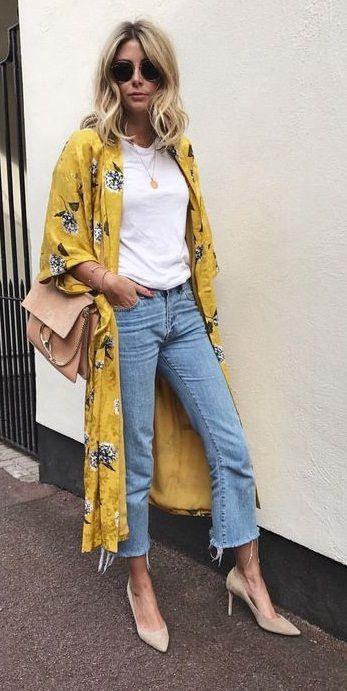 de7c12cc345 summer street style. yellow floral kimono. plain tee. denim ...