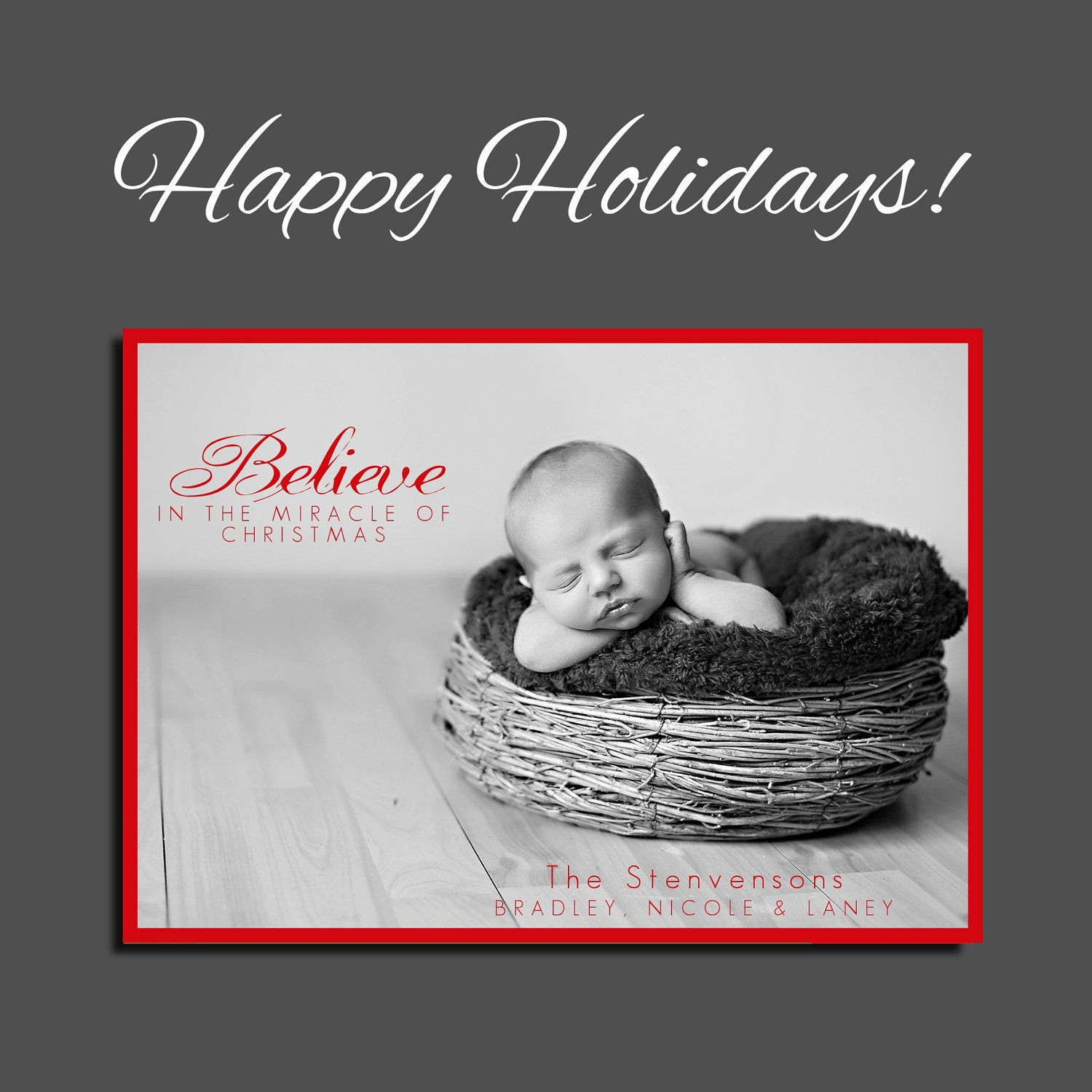 Birth Announcement - Christmas Card - Holiday Card - Printable ...