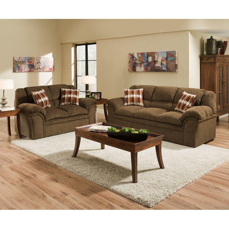 Elza 91 Pillow Top Arms Sofa Sofa And Loveseat Set Living Room Furniture Collections Brown Living Room Decor