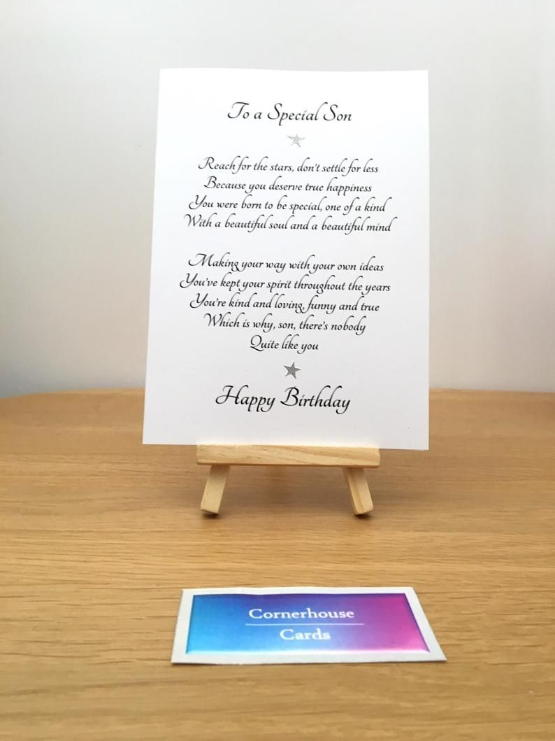 Card for adult son, special sons birthday, birthday card