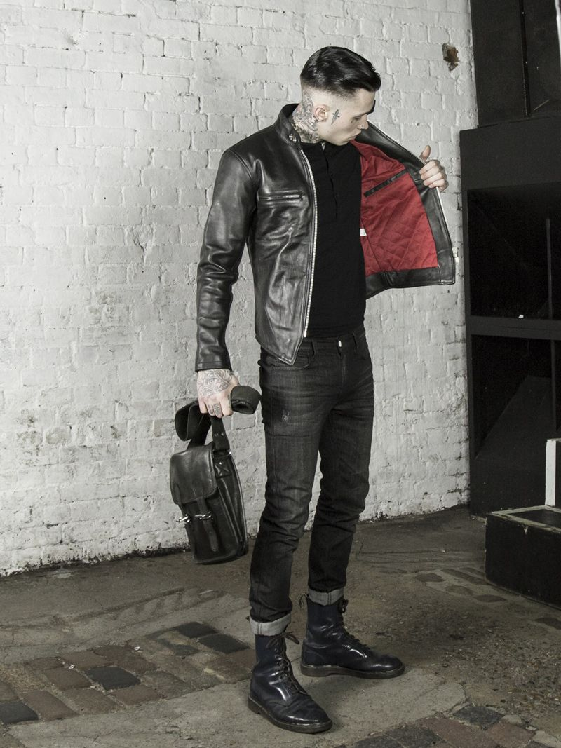 Leather Monkeys Icon Cafe Racer Jacket With Red Lining Lmukco