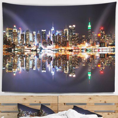 East Urban Home Cityscape New York City Skyscrapers In Blue Shade Tapestry Tapestry Skyscraper Accent Decor