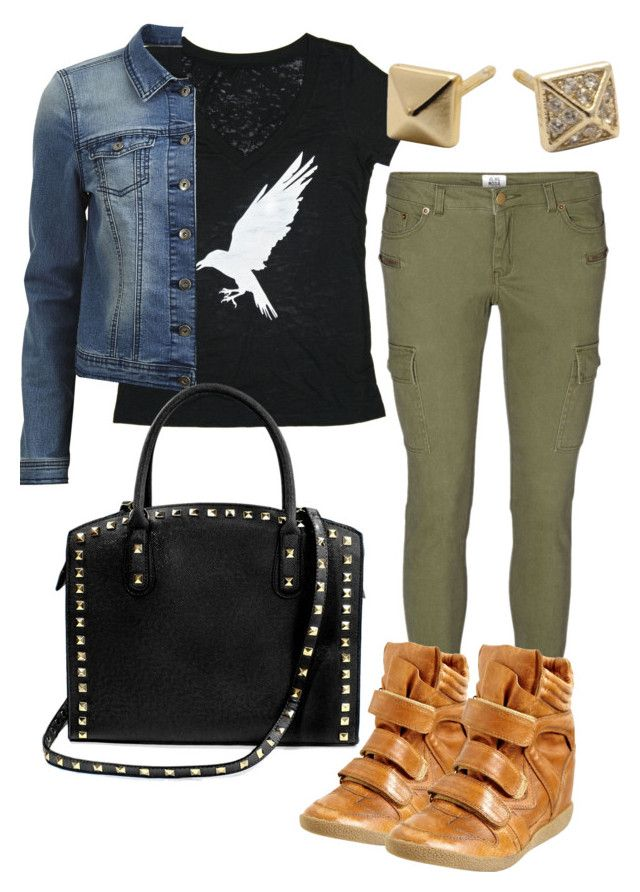 """""""Bran inspired outfit with skinny green cargos"""" by withfashionandblood ❤ liked on Polyvore featuring moda, White Crow, Vero Moda, VILA, Steve Madden y Alexandra Beth Designs"""