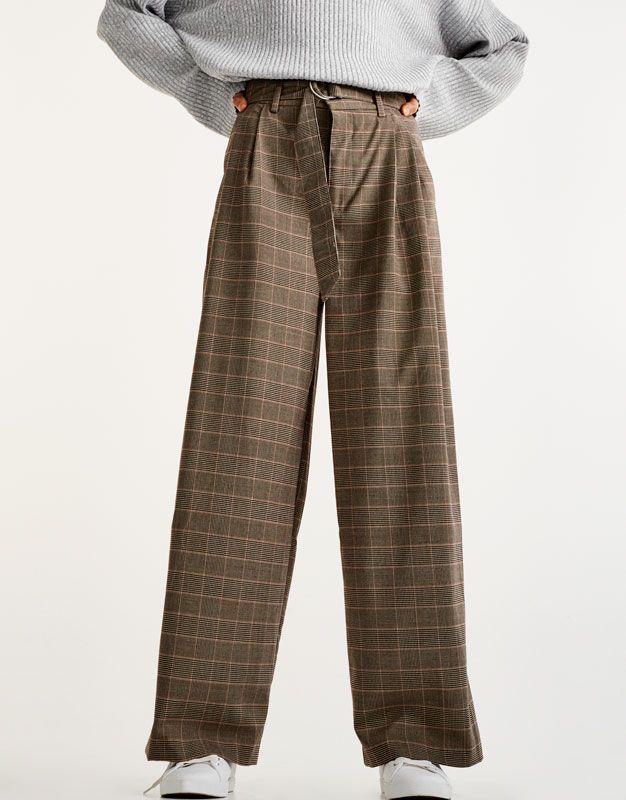 geruite tailoring broek - broeken - kleding - dames - pull&bear