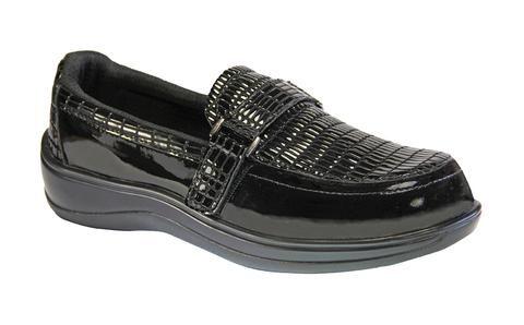 chelsea black women's orthotic slipon shoes  orthofeet