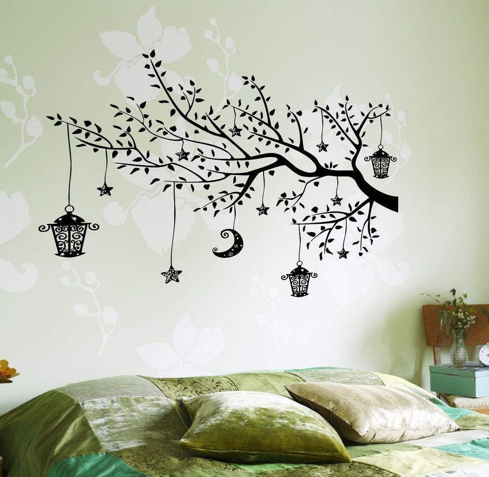 Wall Decal Branch Tree Moon Lantern For Bedroom Vinyl Sticker Z3646 Wall Decal Branches Wall Decals Vinyl Wall Stickers