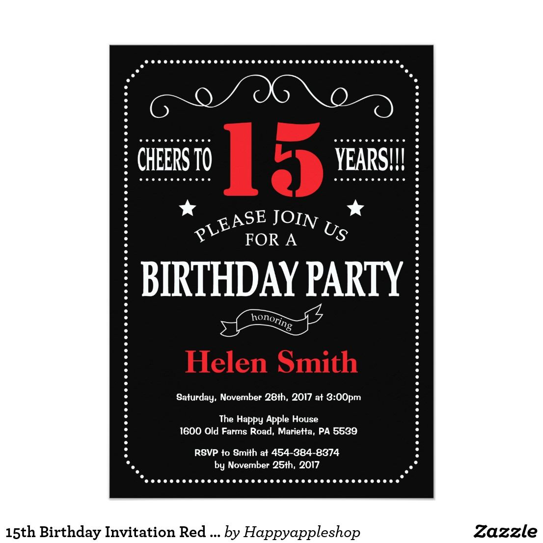 15th birthday invitation red and black