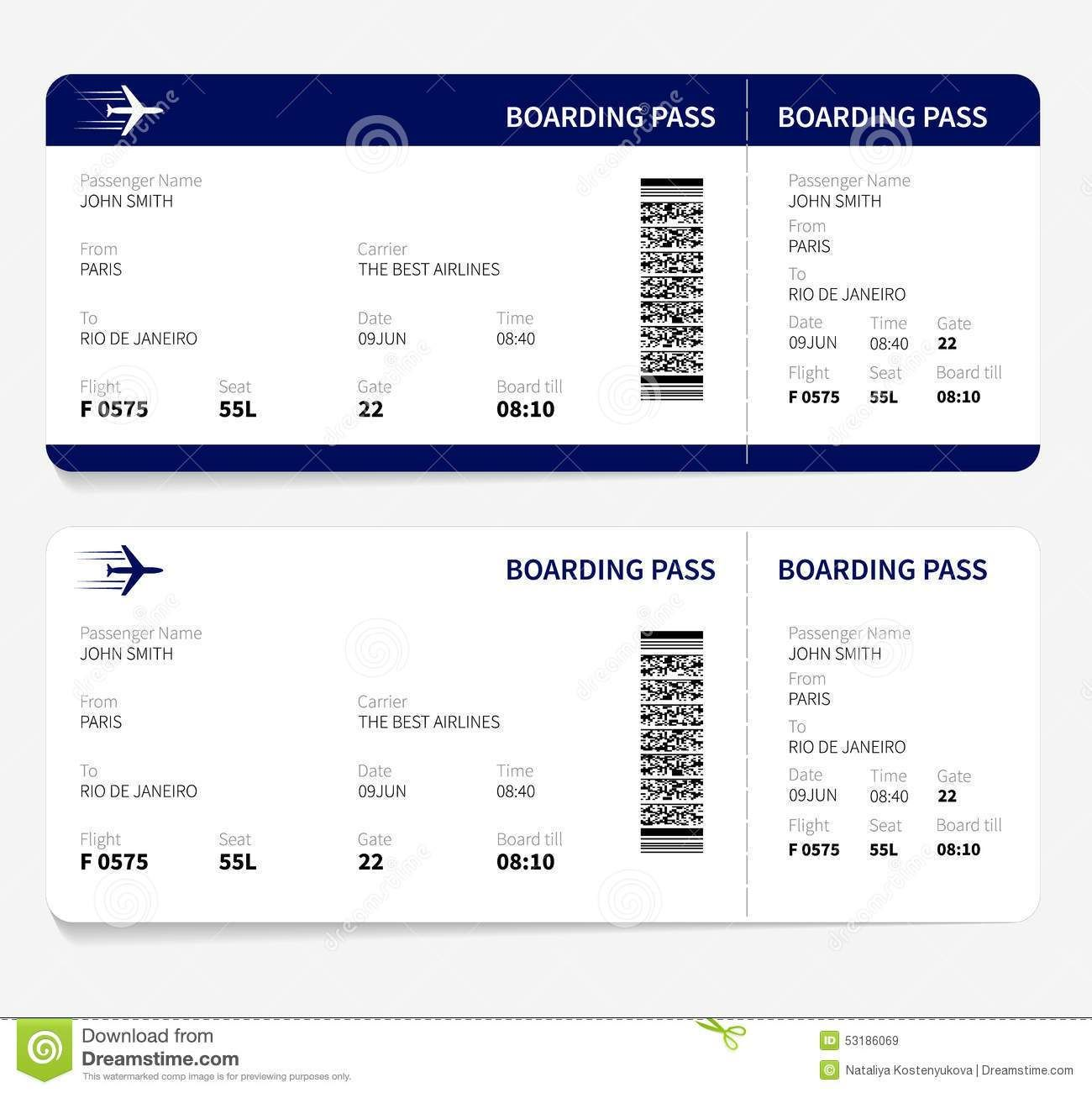 Airline ticket template free sample customer service for Boarding pass sleeve template