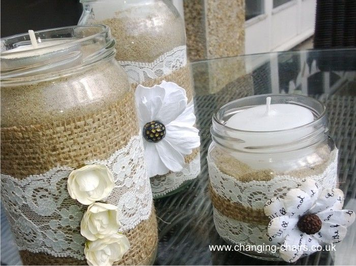 Website gallery pictures template aug 2011 jars tins jam jars decorated with hessain and lace junglespirit Gallery