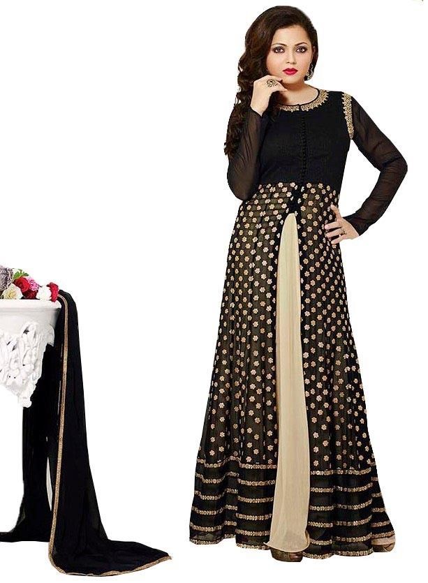0f5bed9439a Drashti Dhami Georgette Machine Work Black Semi Stitched Long Anarkali Suit  - S134 In Stock  Rs 1