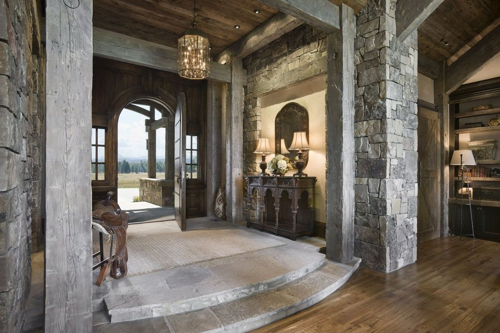 Rustic Entry Foyer Lighting : Rustic entryway with hardwood floors interior stacked