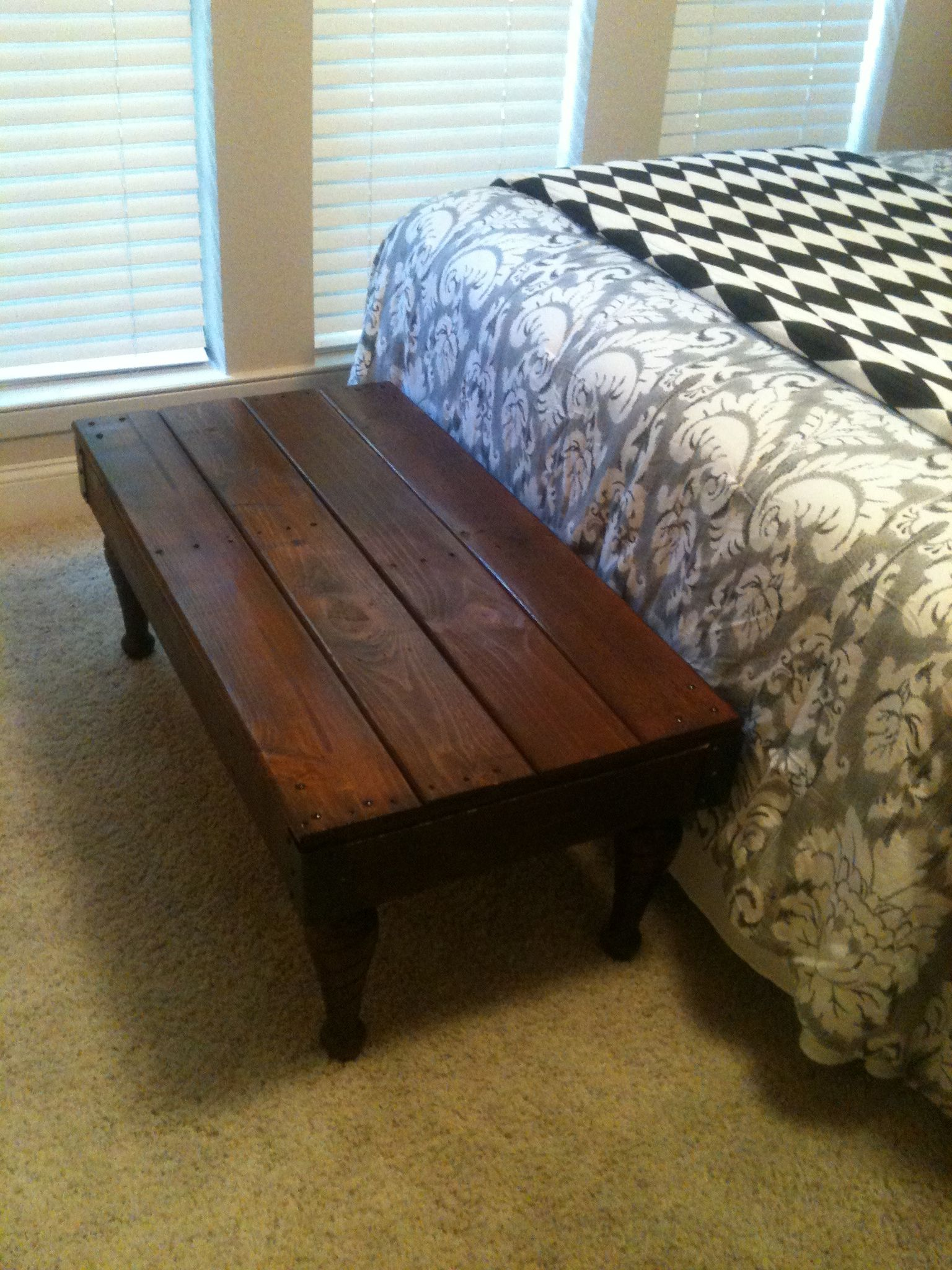 Coffee table made from pallet wood and old barn wood. The ...