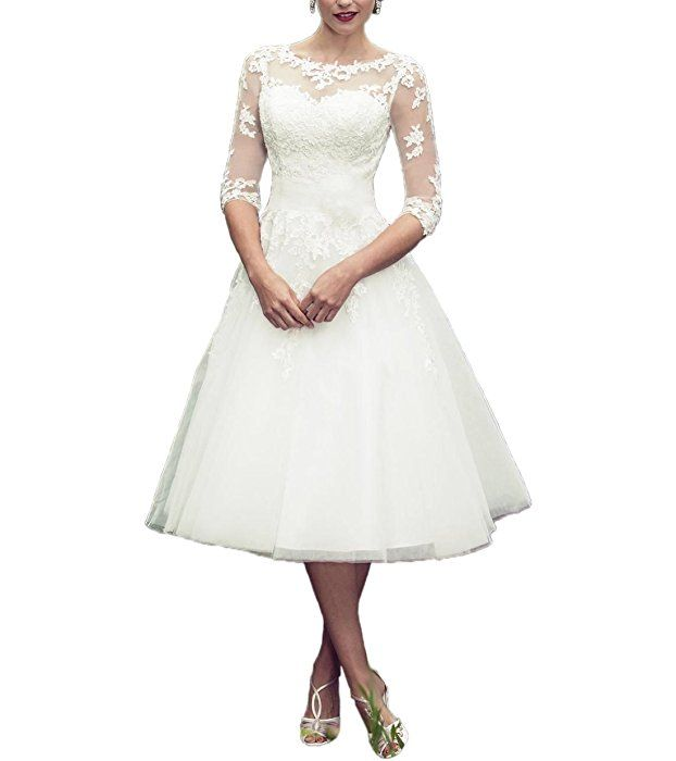 3f327b47336 ABaowedding Long Sleeves Lace Short Tea Length Wedding Dress Gown US 18W  Ivory at Amazon Women s Clothing store